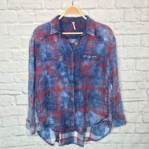 Free People thick soft button down pocket flannel